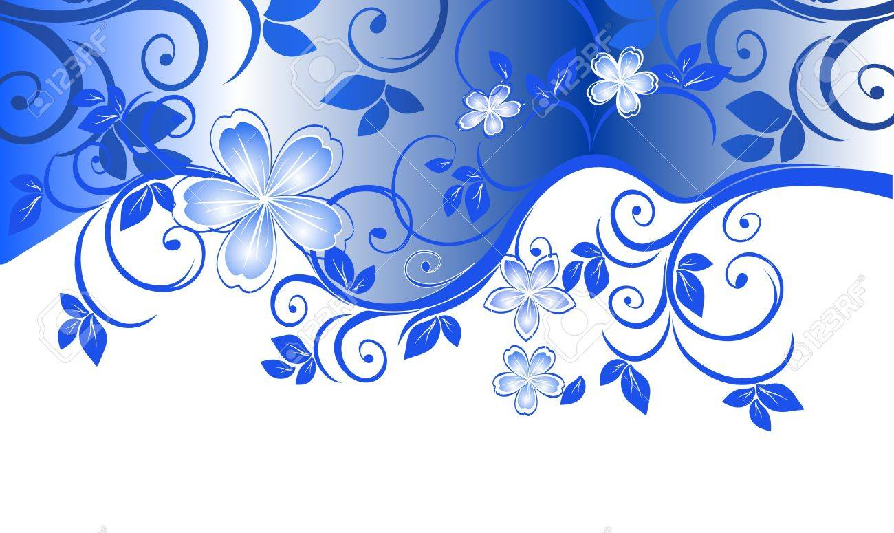 Blue floral pattern with space for text - 11373277