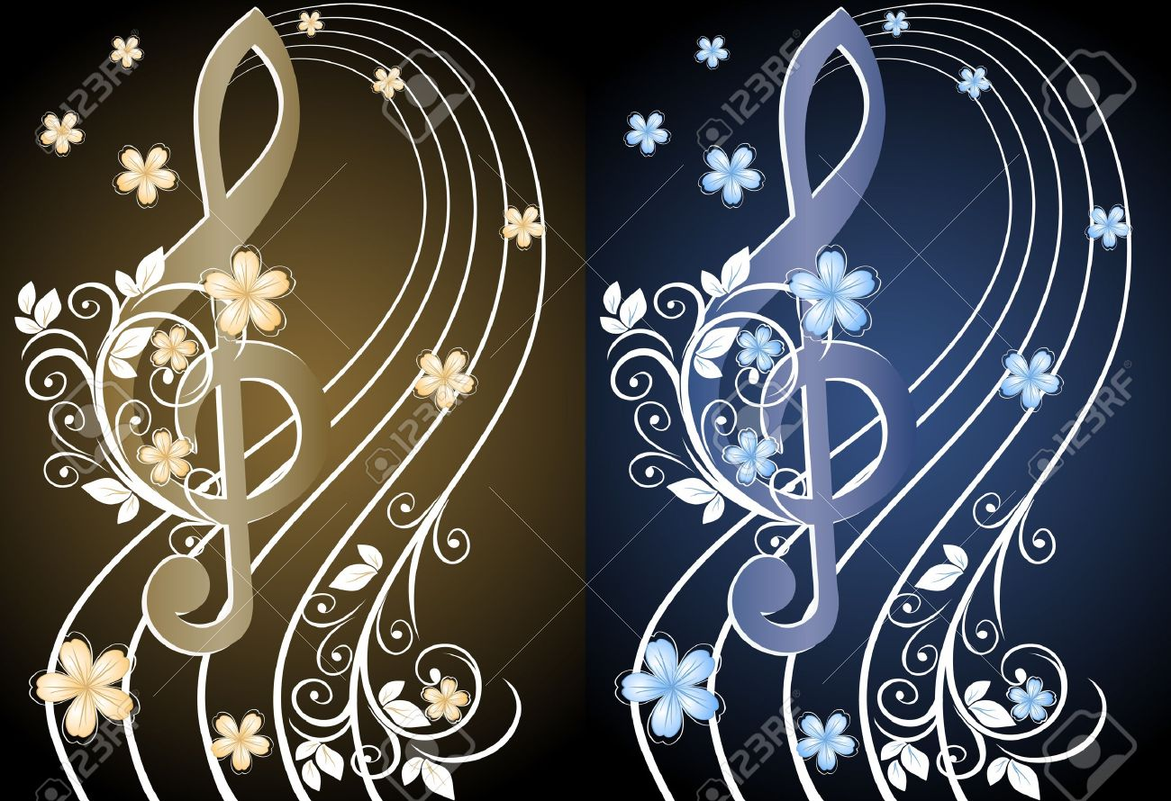 Beige musical background with a treble clef and a flower pattern - 12274208