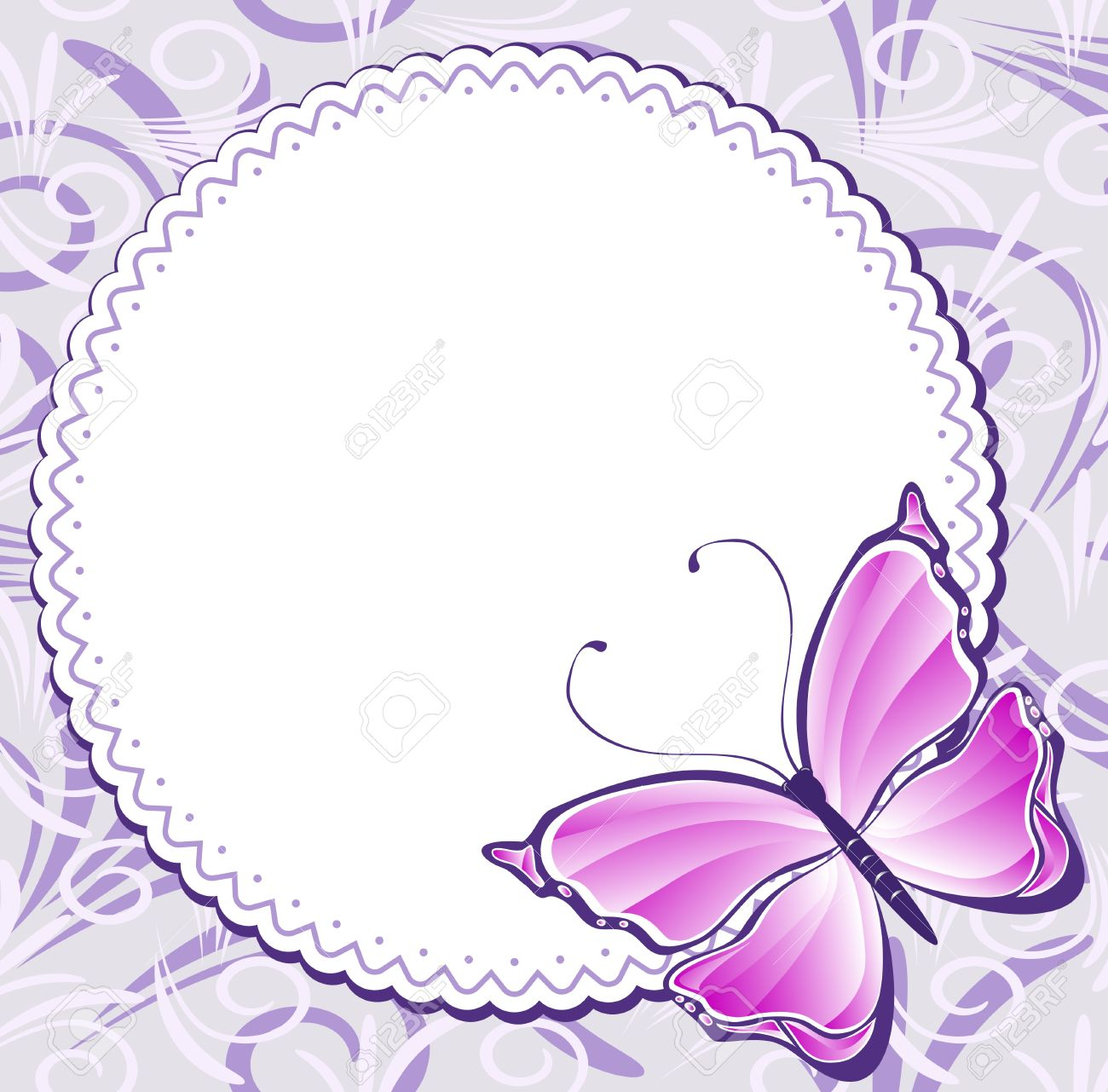 Vintage Frame With Pink Butterfly Royalty Free Cliparts, Vectors ...