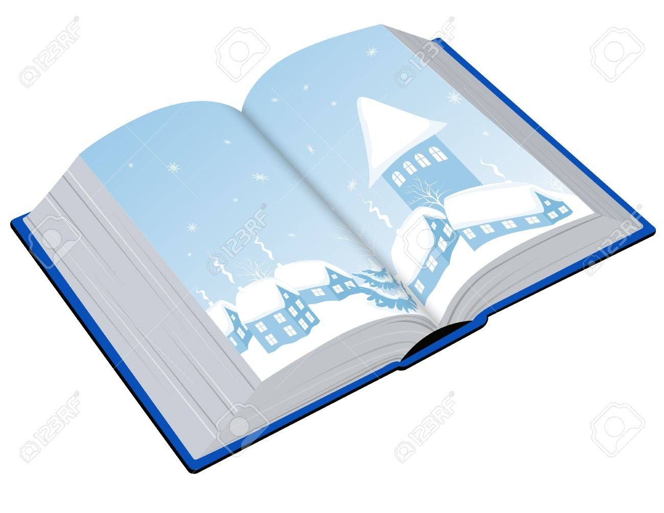 Open book with an illustration of the winter Stock Vector - 14525570