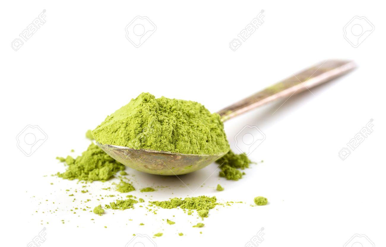 Powder green tea isolated on white background - 44577024
