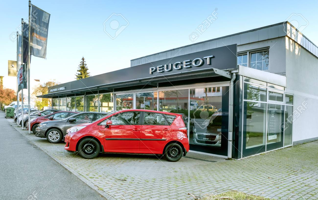 BADEN-BADEN, GERMANY - MAY 2: Office Of Official Dealer Peugeot ...