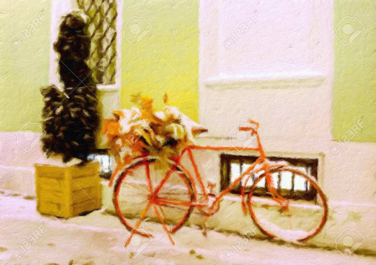Vintage Bicycle With Autumn Leaves And Snow. Oil Painting Effect ...