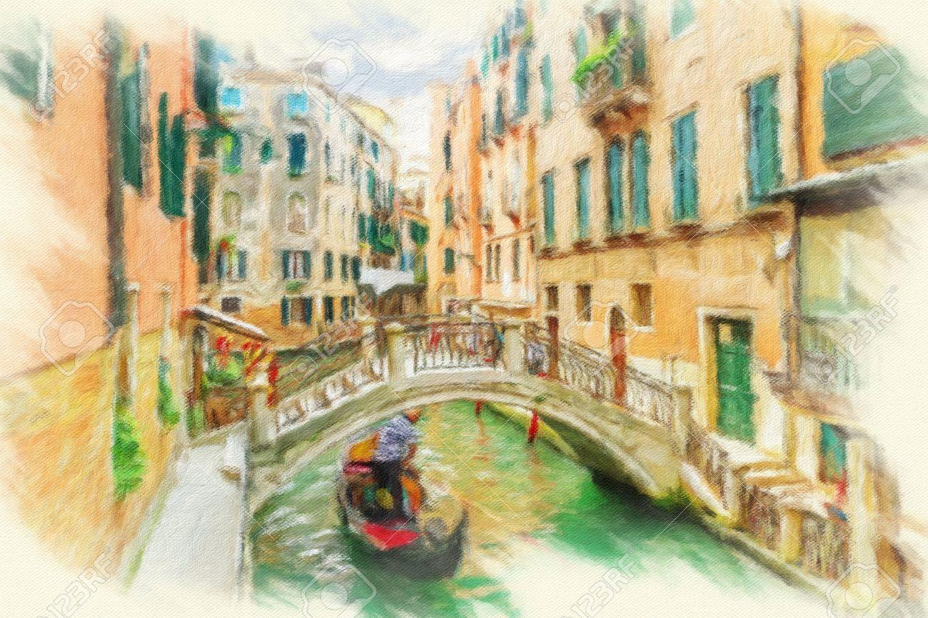 Canal à Venise, Italie. Peinture à L'huile