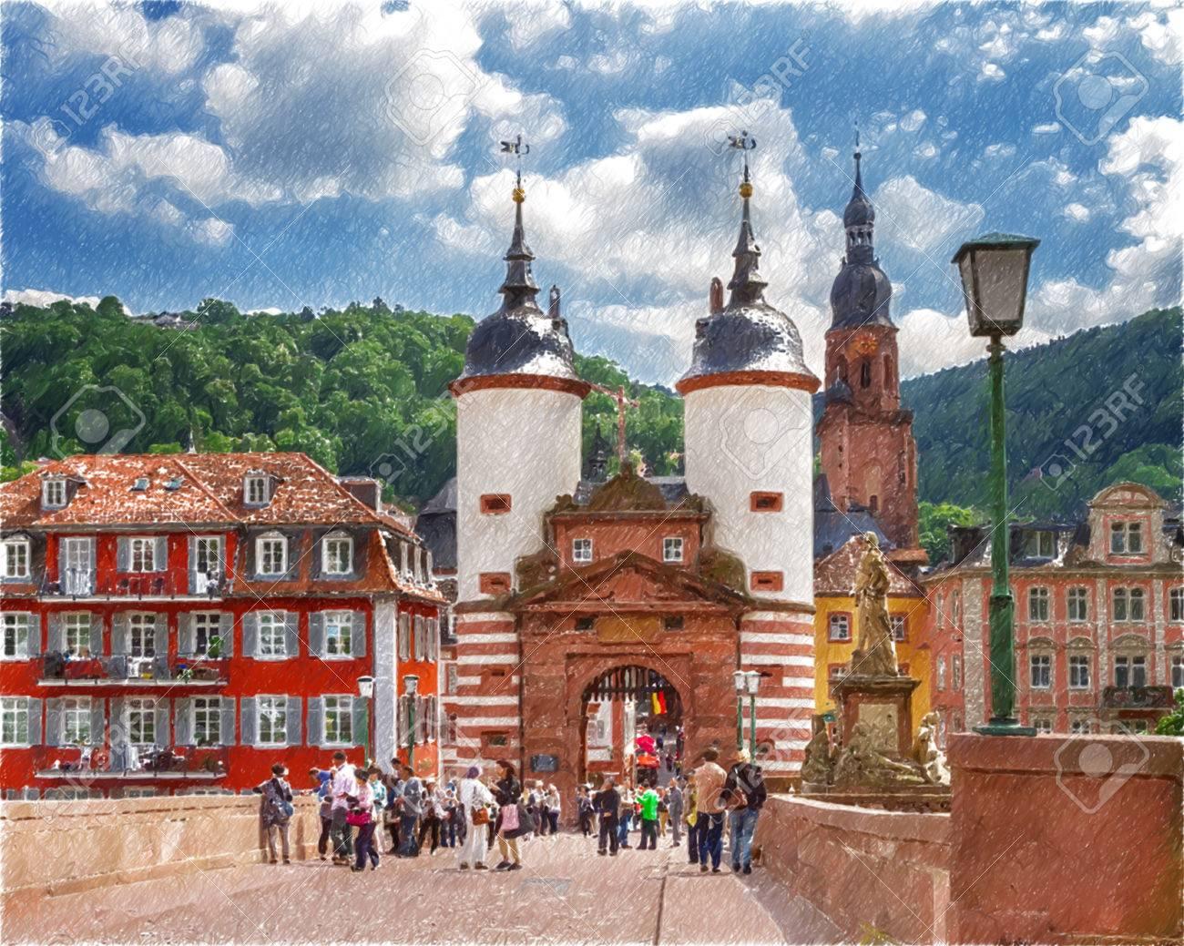 Beruhmte Alte Brucke Tor Heidelberg Deutschland Digitale Illustration In Draw Skizze Stil Lizenzfreie Fotos Bilder Und Stock Fotografie Image 68308173