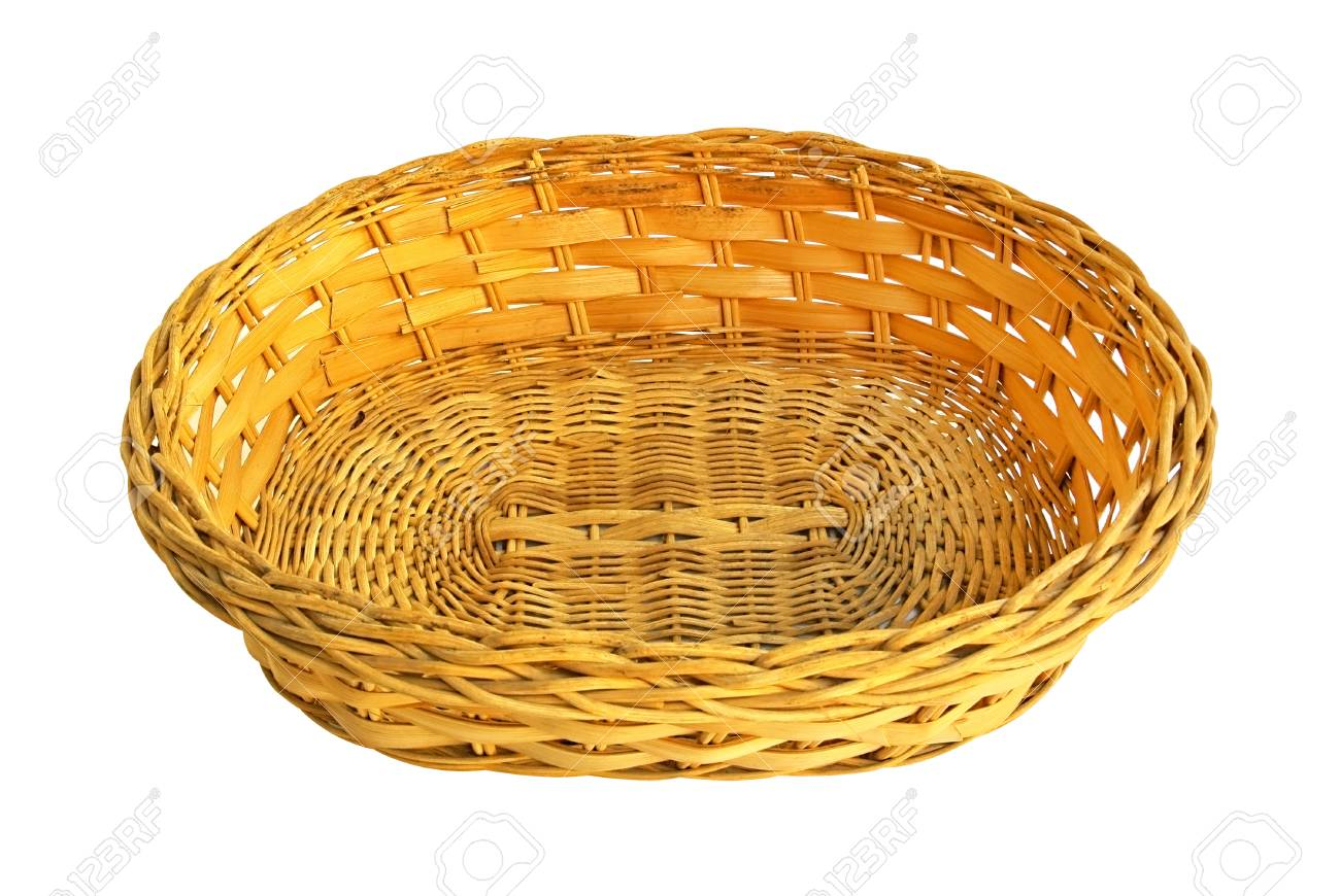 Empty wicker basket isolated on white - 39305711