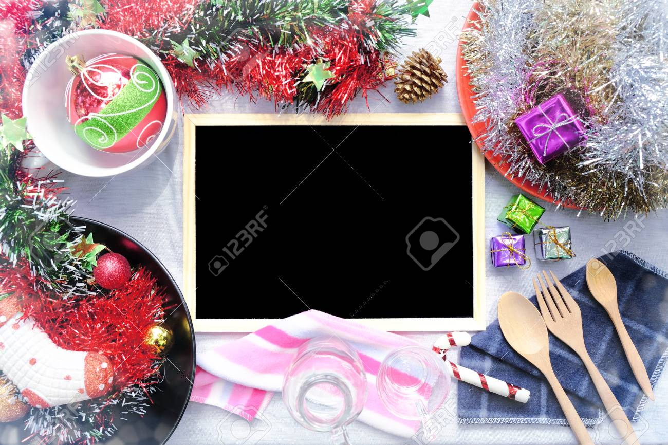 Overhead view of Blank blackboard on Christmas table setting, Rustic decorations, Copy space - 68866795
