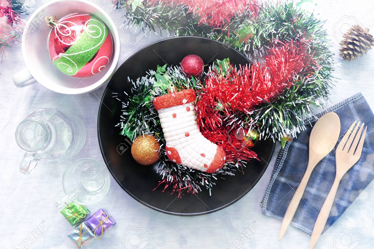 Overhead view of Christmas table setting, Rustic decorations - 68866797