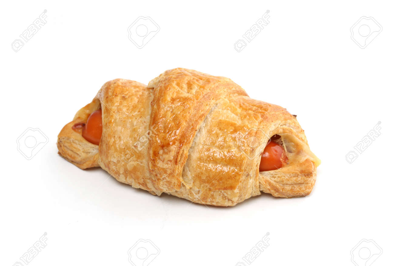 Delicious of sausage croissant on white - 163158824