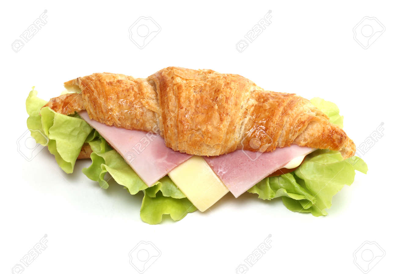Ham and cheese croissant sandwich on white - 163158826