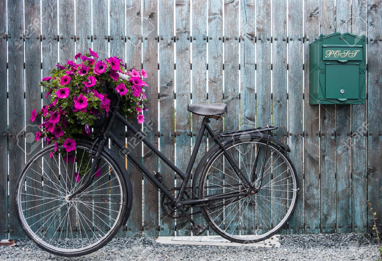c124634010d Old Vintage Bicycle With Flower Basket Stock Photo, Picture And ...