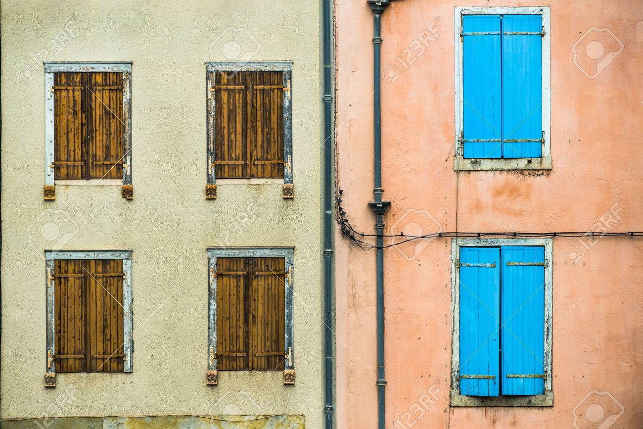 Closed Vintage French Window Shutters On Buildings