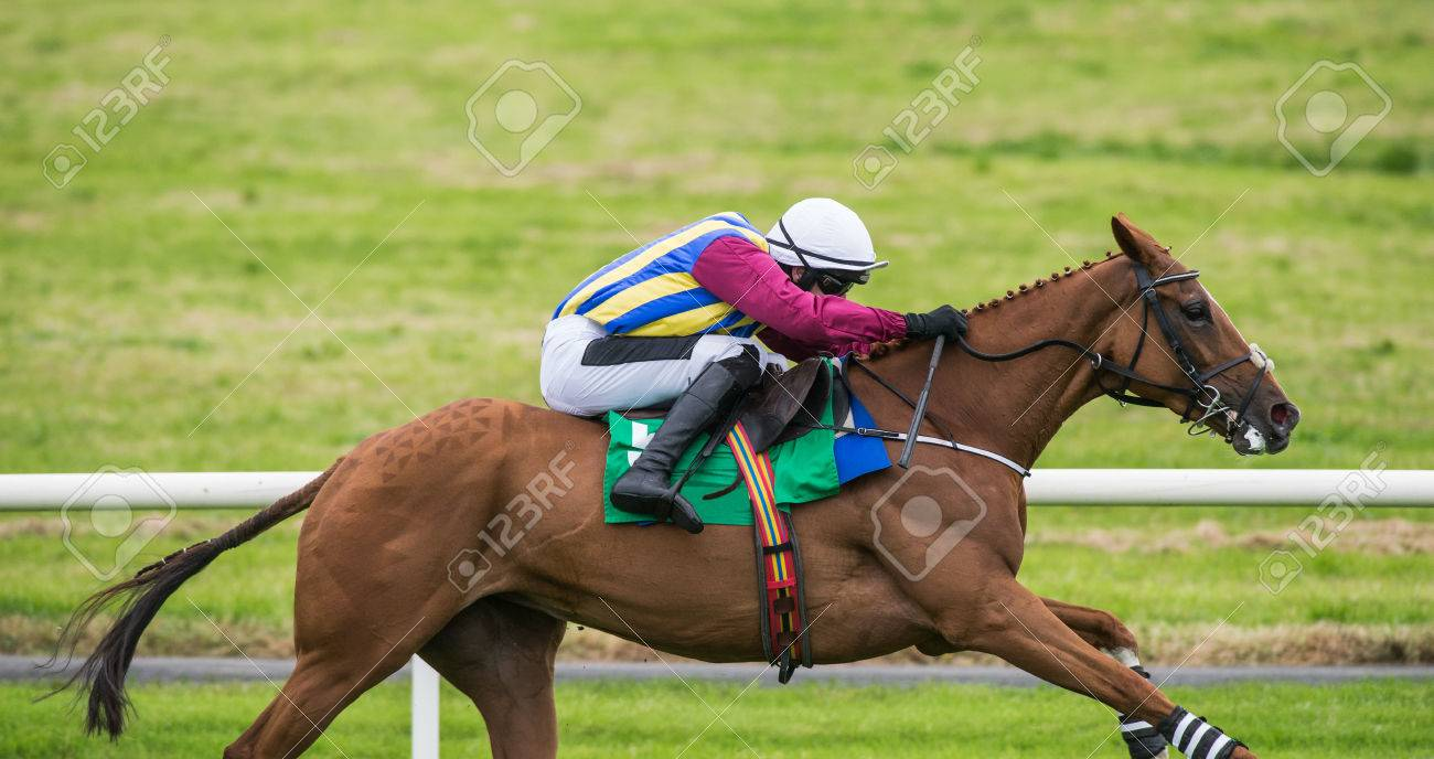 Race Horse And Jockey Galloping Down The Track Stock Photo