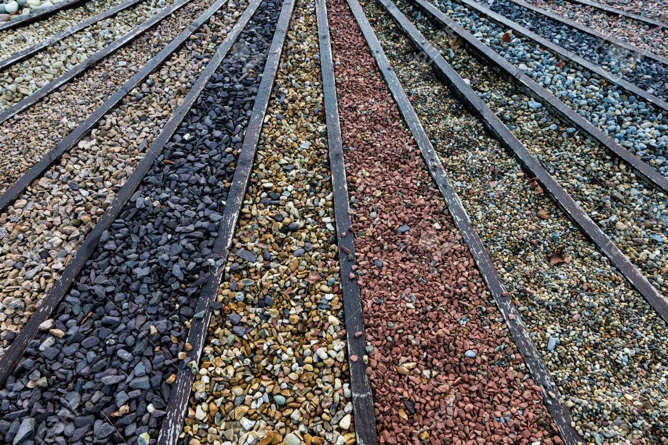 Stock photo various types of stone and gravel pebbles for garden landscaping