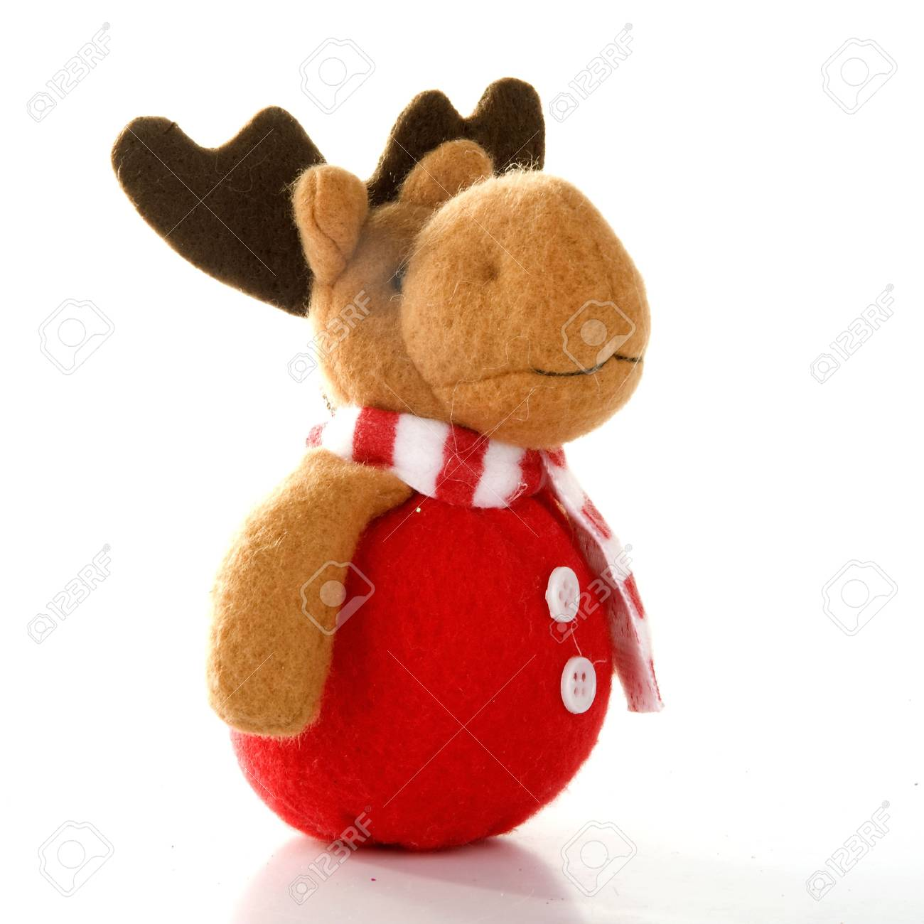 a christmas reindeer with a red nose and a striped shawl Stock Photo - 5442001