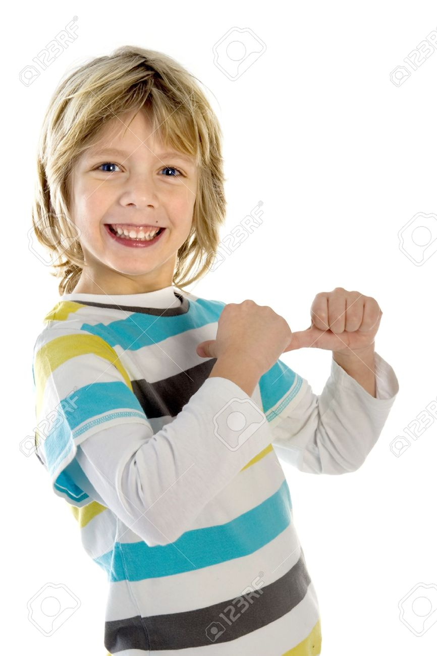 a boy pointing to himself on a white background stock photo picture