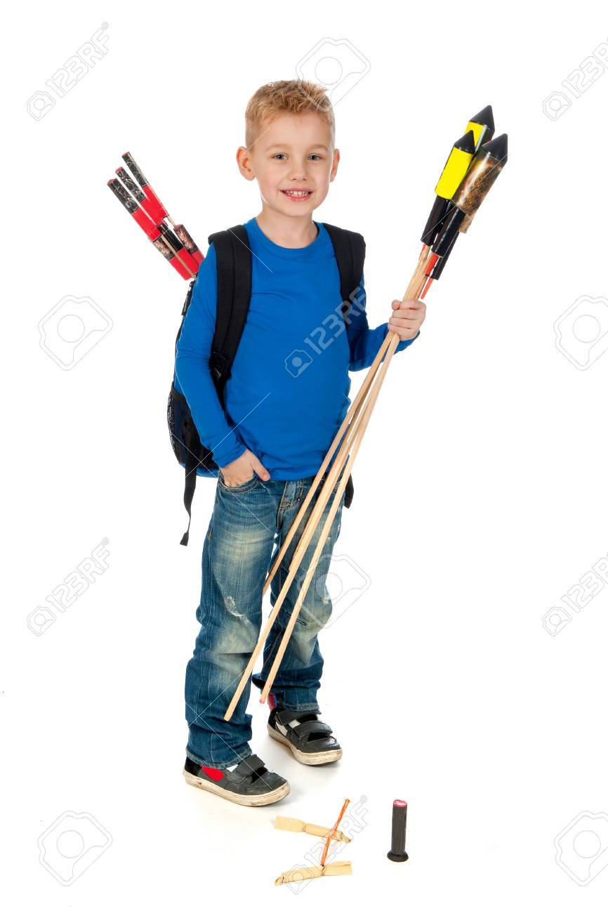 Background image too big - A Boy Who S To Little With Firework Witch Is Too Big On A White Background Stock