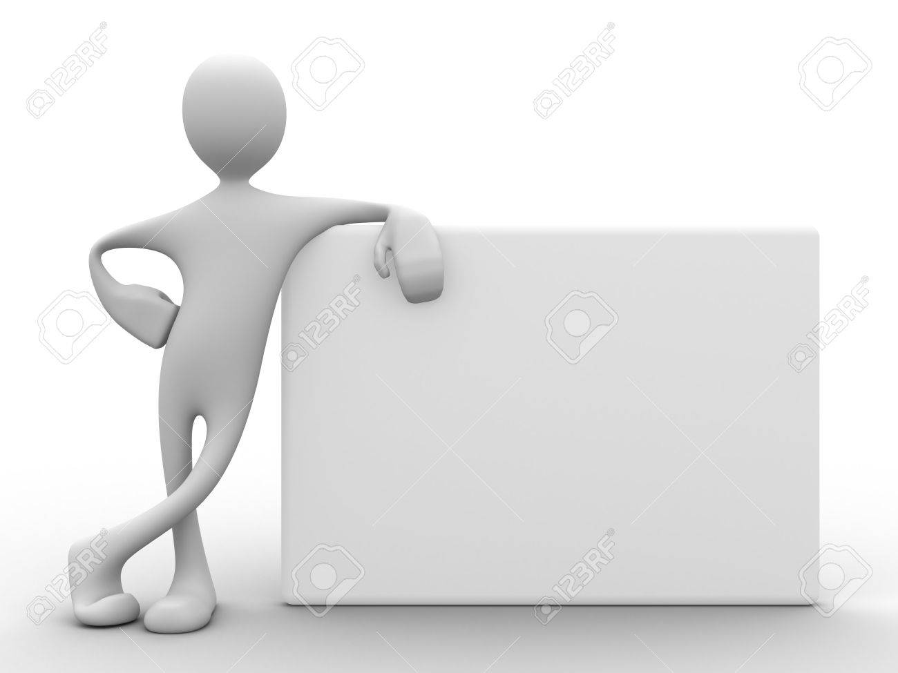 3d man with relaxed attitude leaning on white board from the side Stock Photo - 9504545