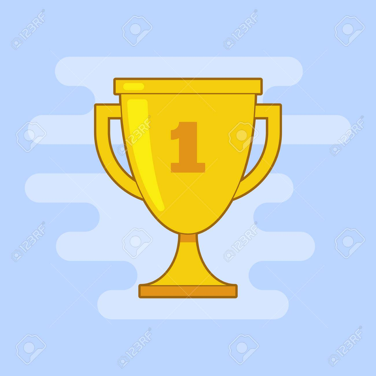 Trophy Cup Vector Flat Icon With Outline And Number One On Light Blue Background Stock