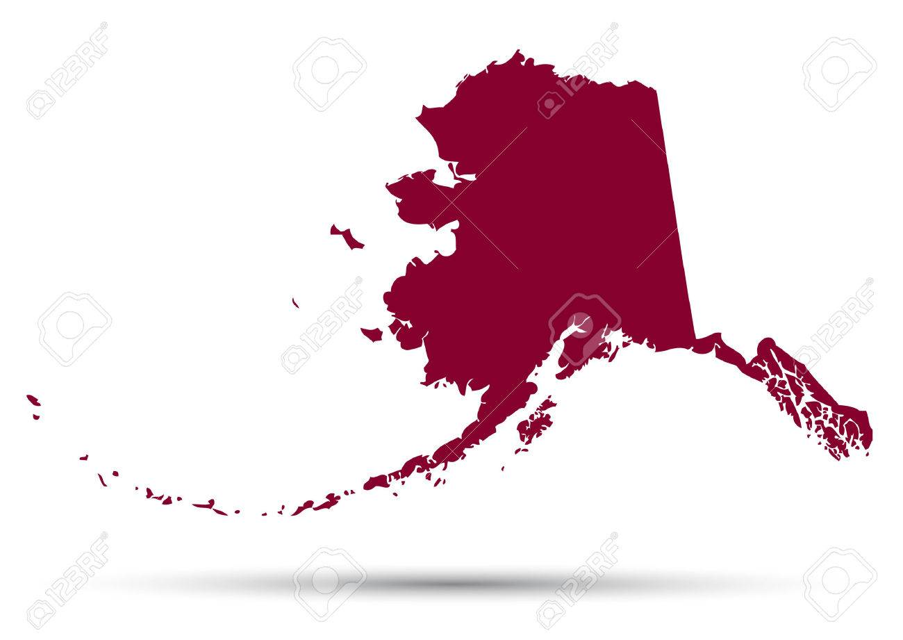 Map Of The US State Of Alaska On A White Background Royalty Free - Us map and alaska