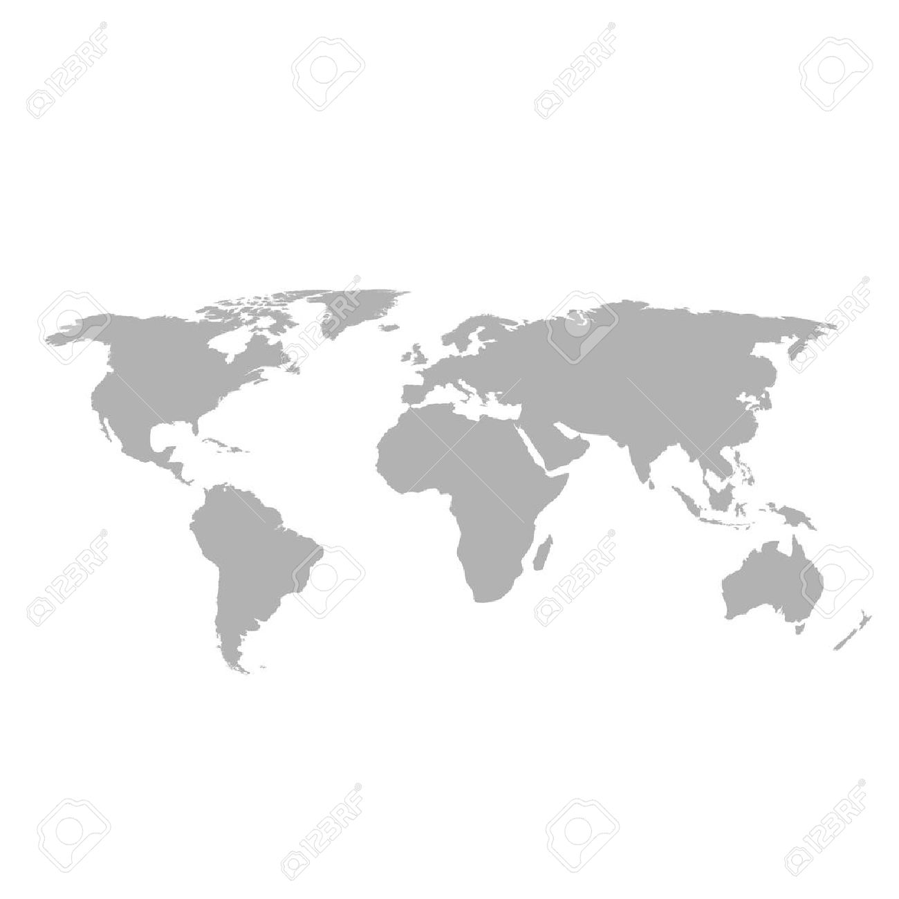 Gray World Map On White Background Royalty Free Cliparts, Vectors ...