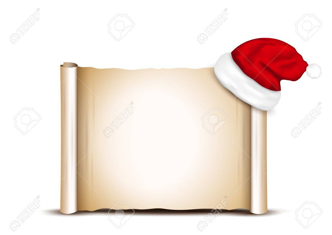 Blank Paper With Santa Hat on a white background - 47868161