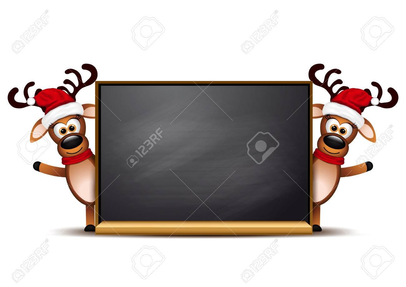Tarjeta De Navidad Plantilla De Diseño. Dos Ciervos En Tarjeta De ...