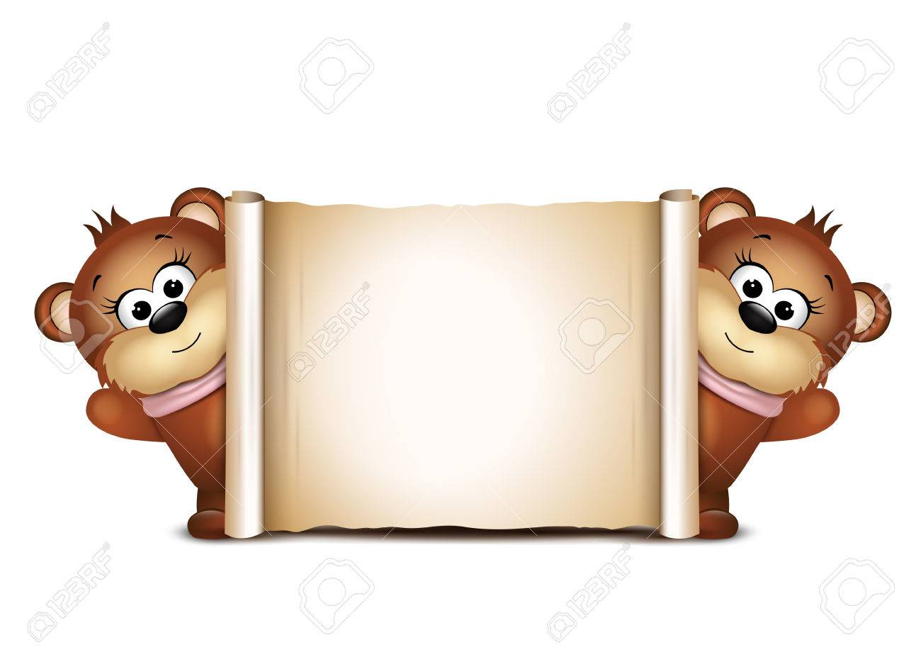 postcard design template two teddy bears illustration royalty