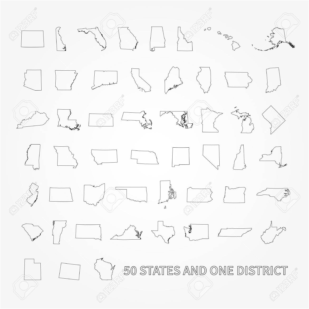 America 50 States Map.United States Of America 50 States And 1 Federal District Us