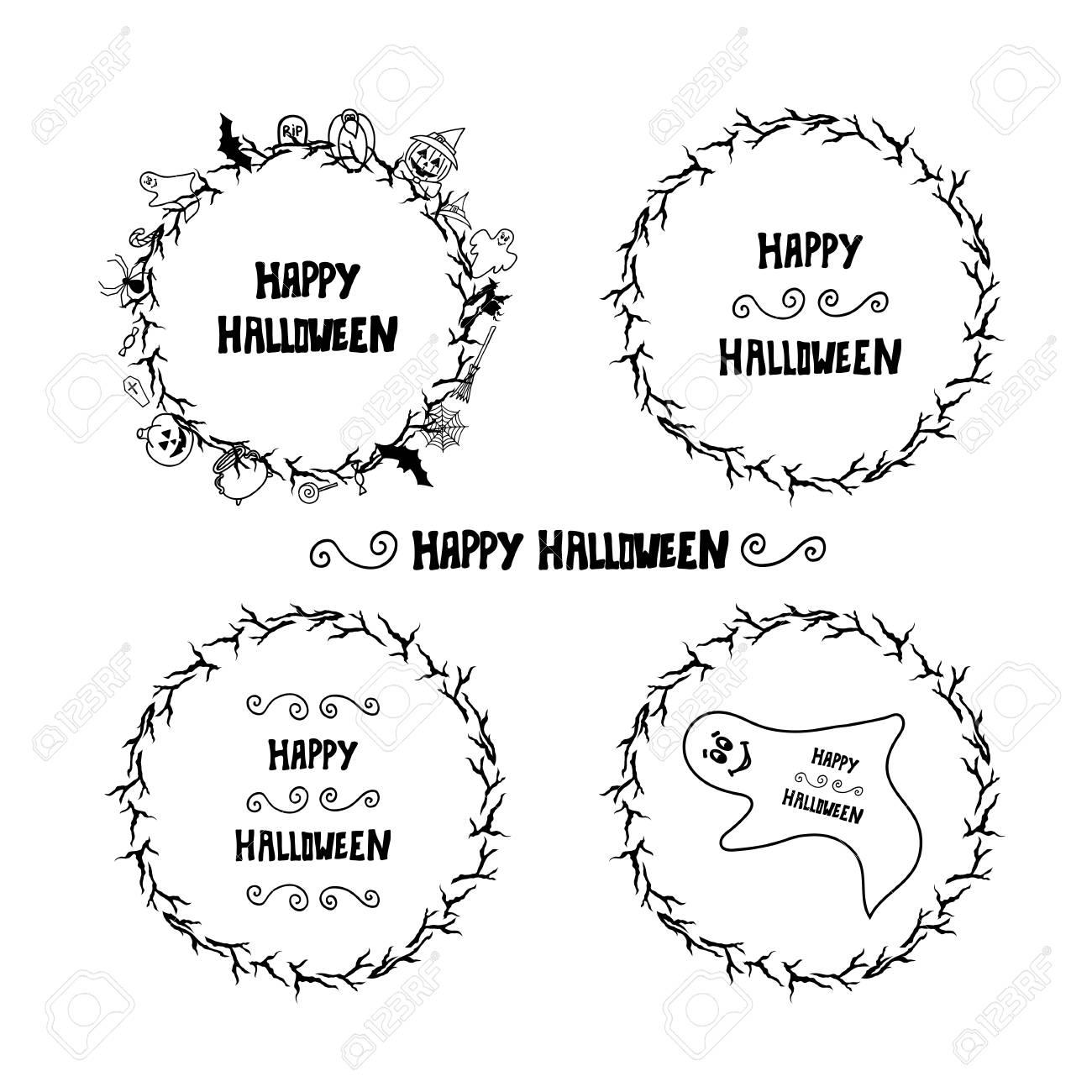 set of happy halloween vintage badges emblems and labels halloween
