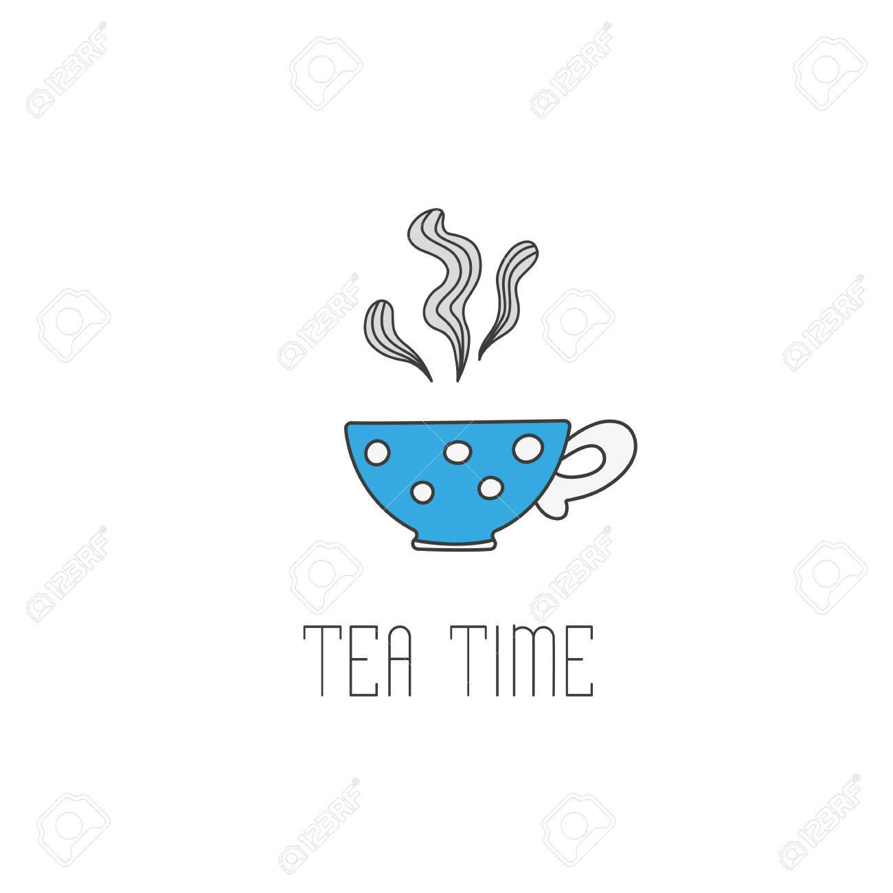 Hand Gezeichnete Illustration Von Polka Dot Tee-Becher Mit Tee. Tee ...
