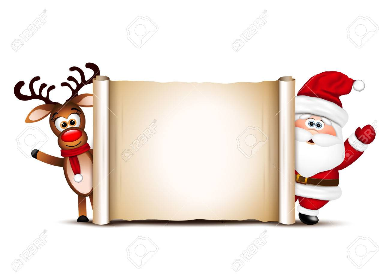christmas card design template santa claus and his reindeer stock vector 69450971
