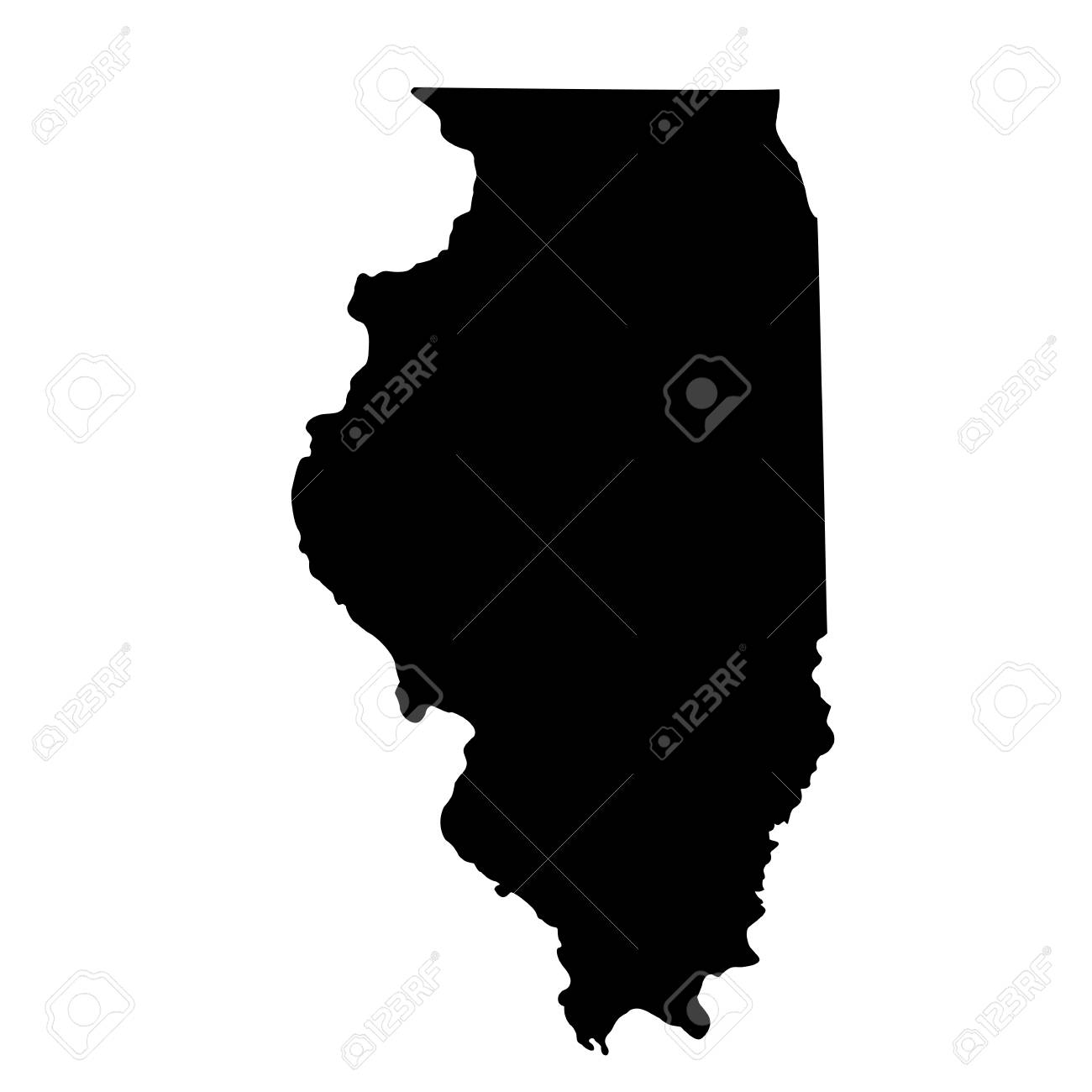 Map Of The U.S. State Illinois Royalty Free Cliparts, Vectors, And S In Illinois Map on