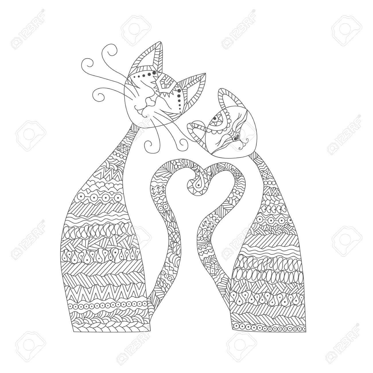 Coloriage Chat Amoureux.Deux Chats Amoureux Livre De Coloriage Antistress Elements Dessines A La Main Pour Vos Creations Robe Affiche Carte T Shirt
