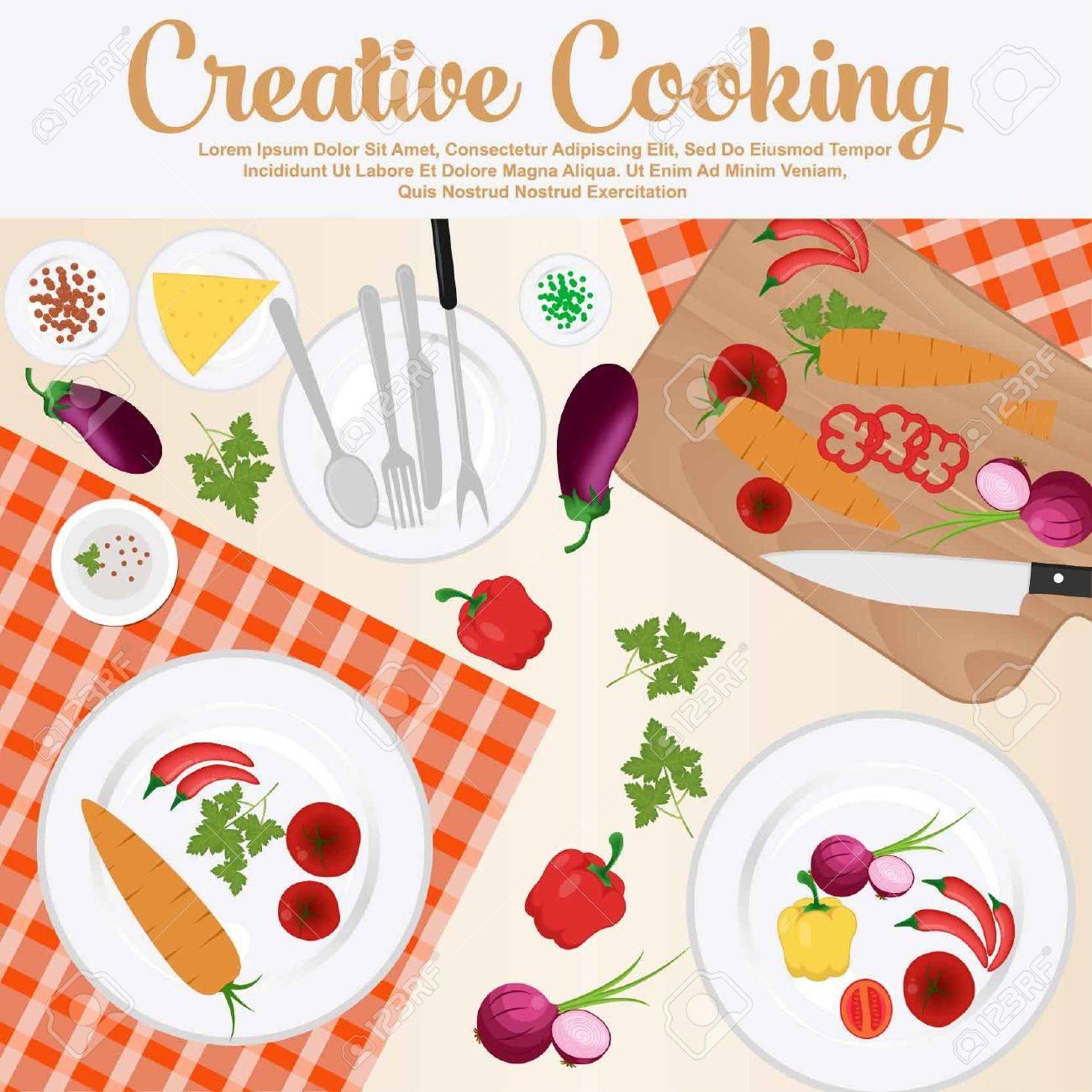 Diseño Del Cartel De La Cocina Creativa. Elementos E Iconos Para ...