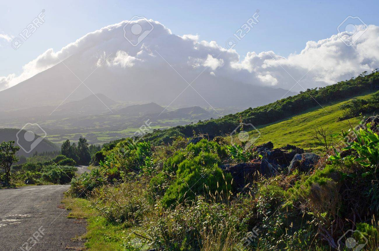 View on the highest mountain of Portugal in the late afternoon, Azores - 15939631