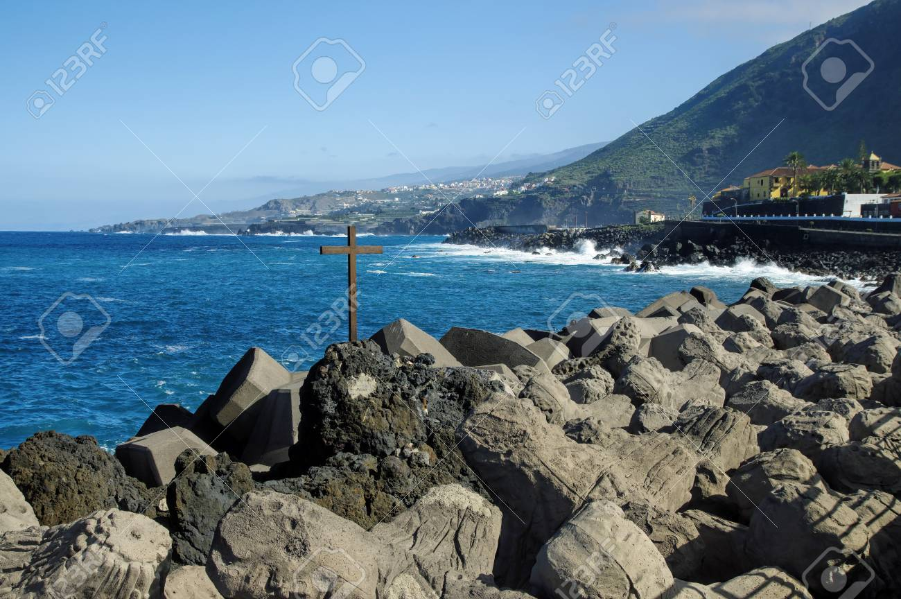 Natural Pool In Garachico Tenerife Island Canary Spain Stock