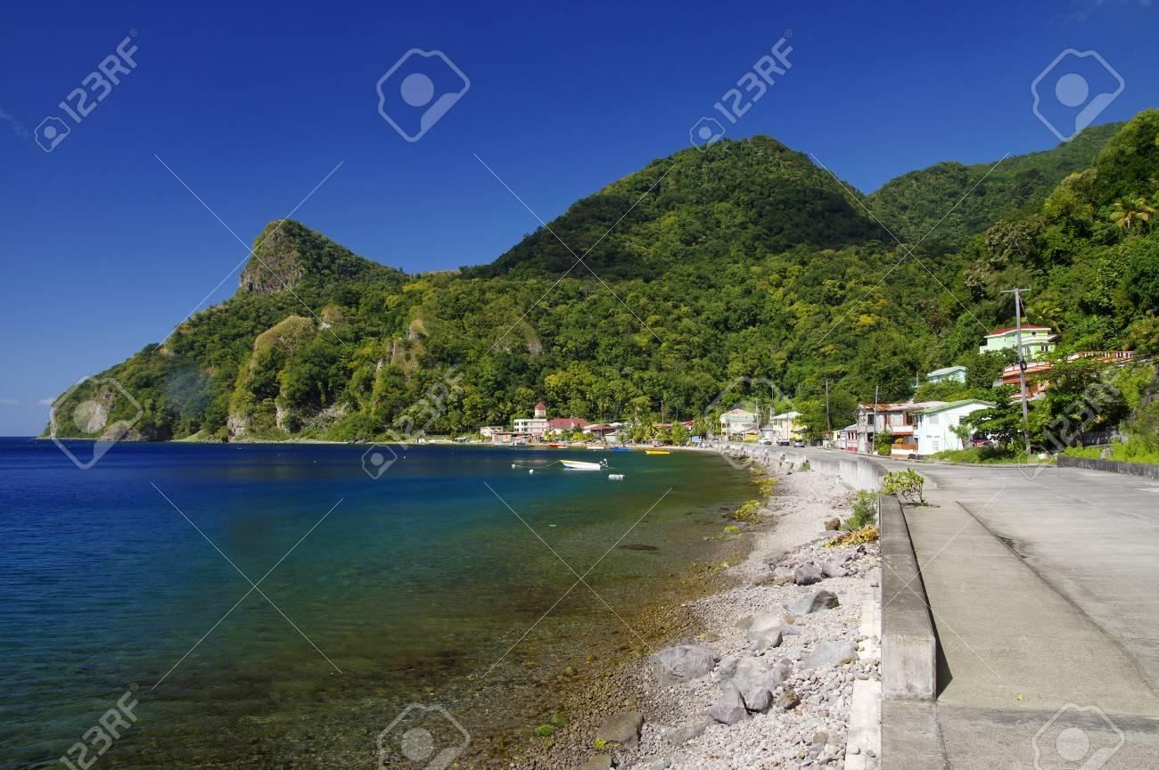 View of Soufriere village. Dominica island, Lesser Antilles - 82088143