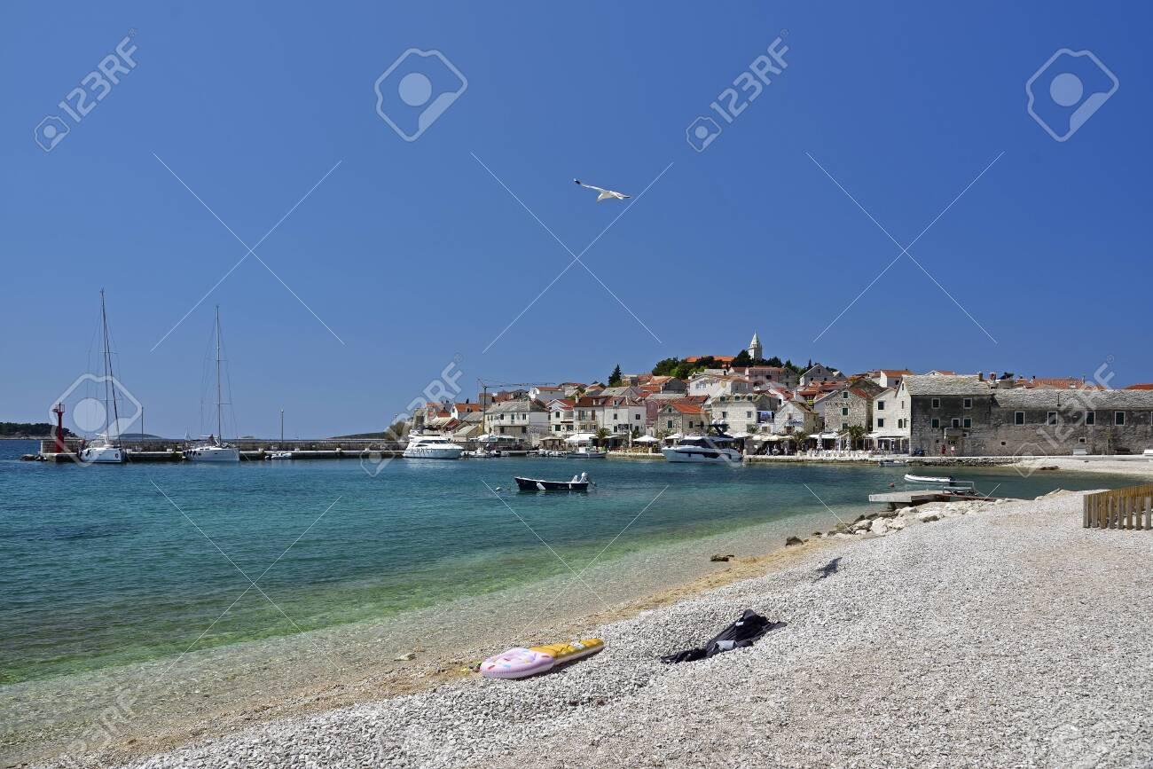 PRIMOSTEN, CROATIA - MAY 2, 2019 - The famous and beautiful Primosten town in Dalmatia - popular tourist destination in Dalmatia. Croatia - 145096136