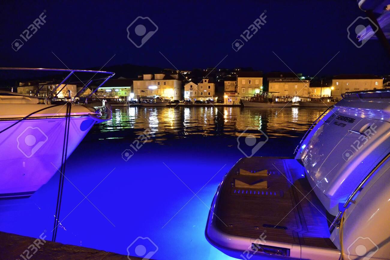 TROGIR, CROATIA - APRIL 31, 2019: The mediterranean city of Trogir at night. Croatia. - 145096139