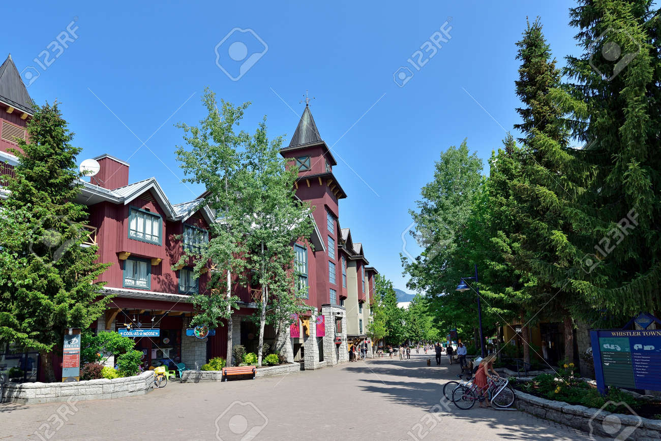 WHISTLER, BRITISH COLUMBIA, CANADA, MAY 30, 2019: Tourists and visitors at the Whistler - Canadian Ski Resort town approximately 125 kilometers north of Vancouver - 160784259