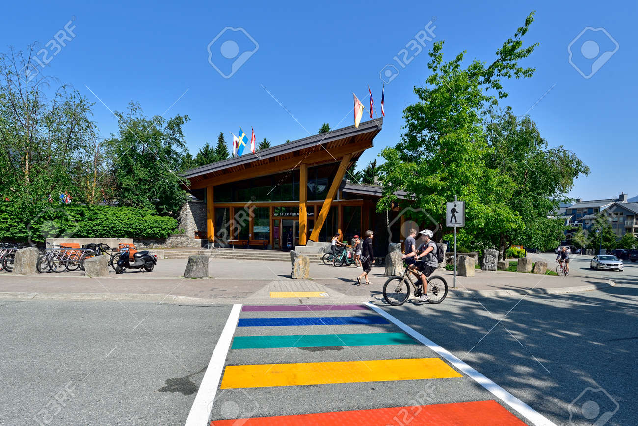 WHISTLER, BC, CANADA, MAY 30, 2019: The Whistler - Canadian Ski Resort town approximately 125 kilometers north of Vancouver - 160784262