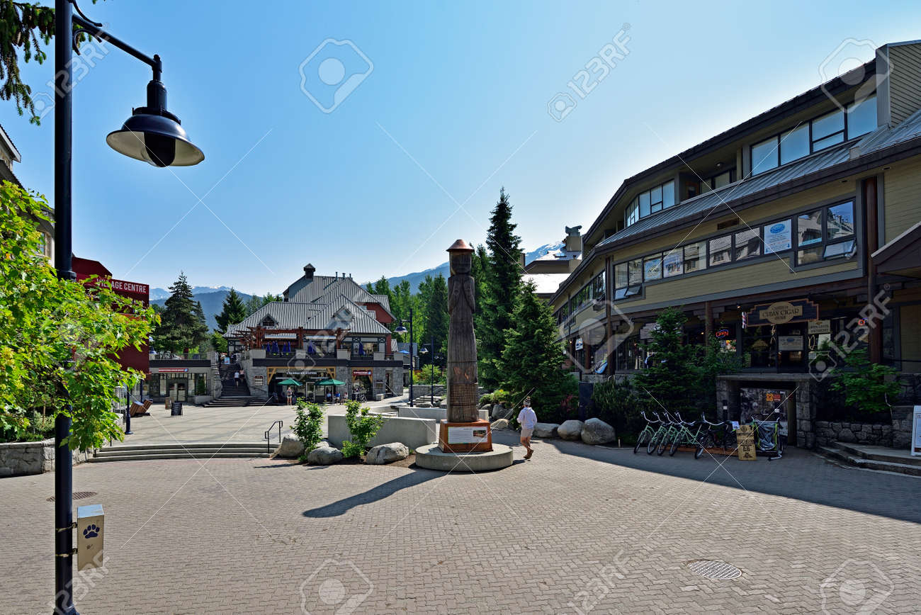 WHISTLER, BRITISH COLUMBIA, CANADA, MAY 30, 2019: Tourists and visitors at the Whistler - Canadian Ski Resort town approximately 125 kilometers north of Vancouver - 160784267