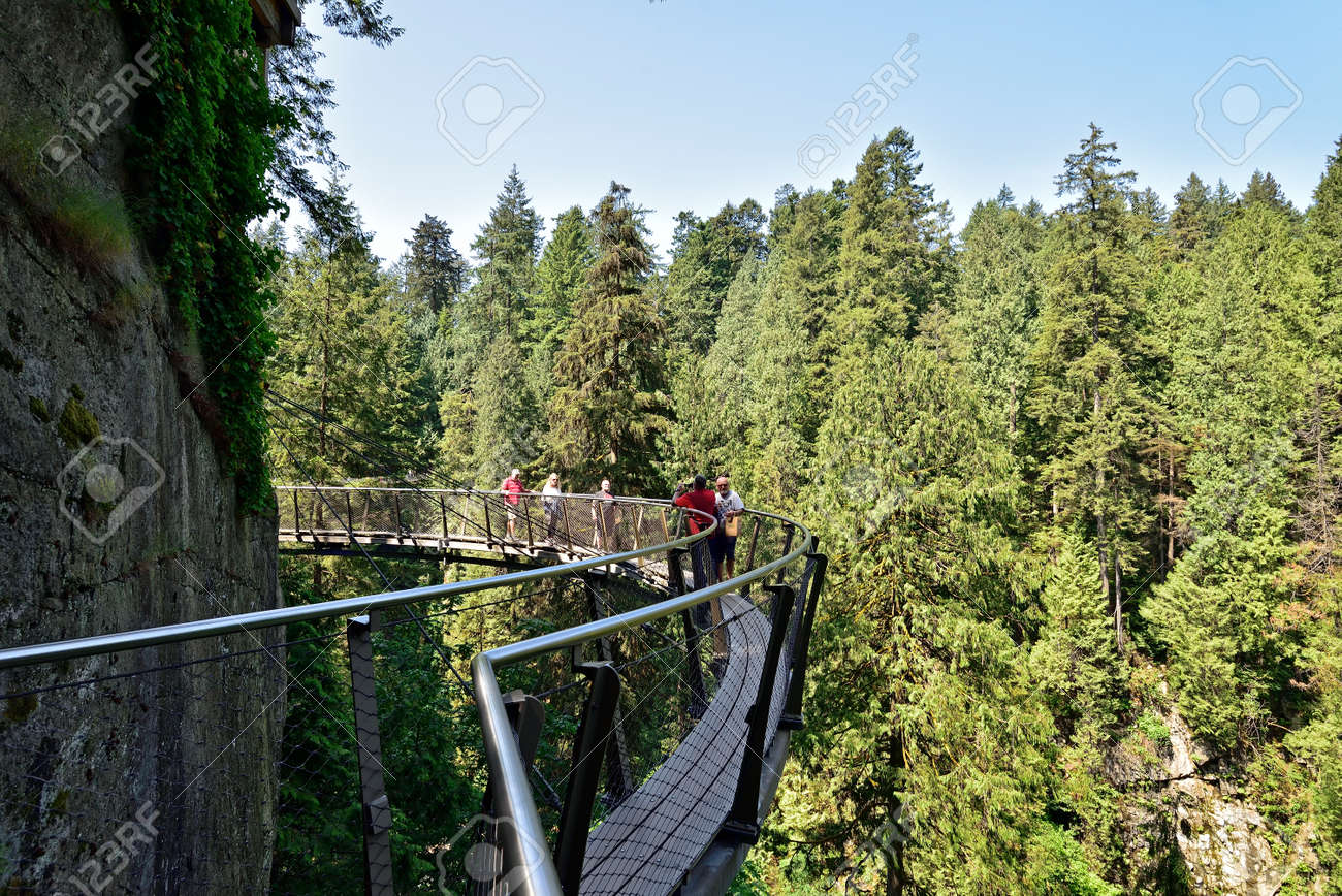 VANCOUVER, BRITISH COLUMBIA, CANADA, MAY 31, 2019: Visitors exploring the Capilano Cliff Walk through rainforest. The popular suspended walkways juts out from the granite cliff face 230 meters above the Capilano River. - 160784254