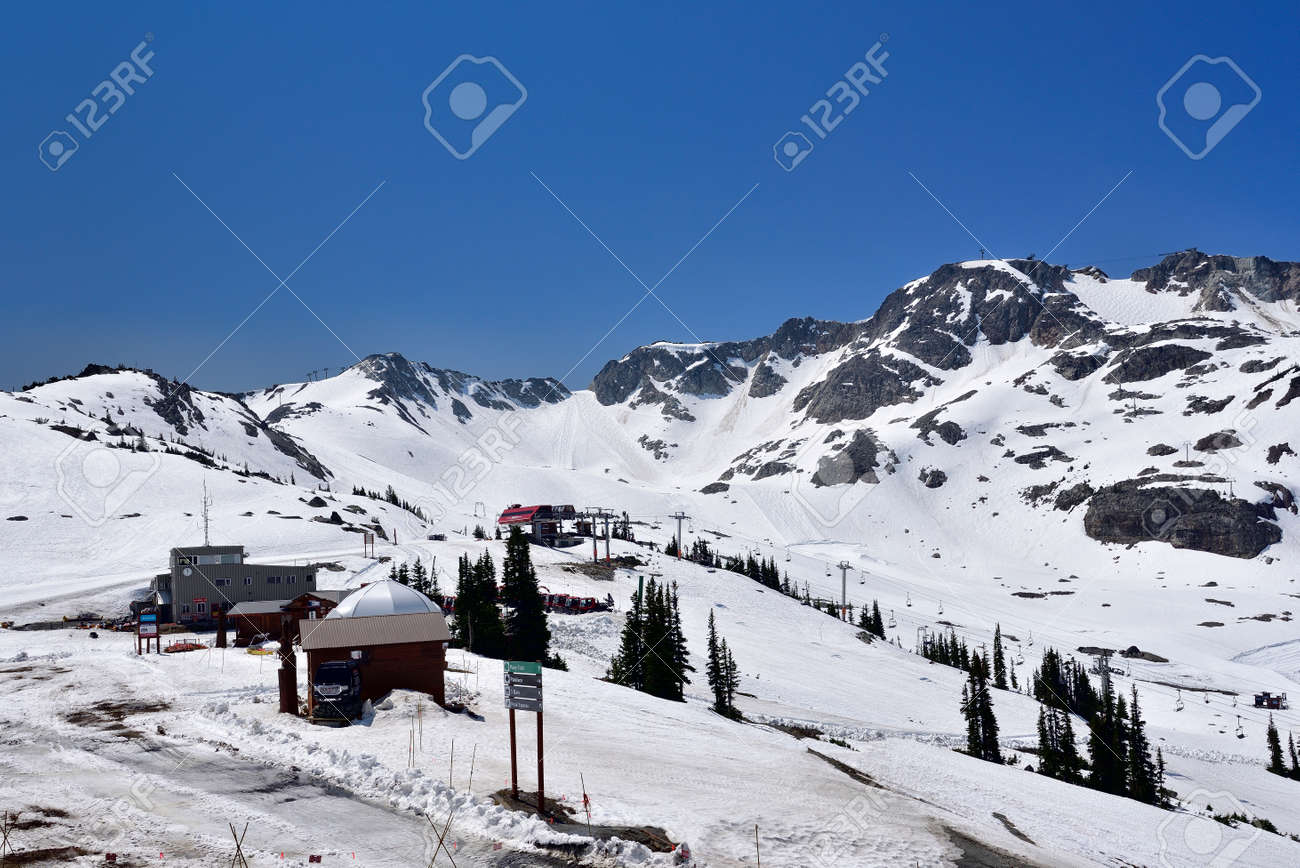 WHISTLER, BC, CANADA, MAY 30, 2019: Ski Resort in Whistler - Canadian Ski Resort town approximately 125 kilometers north of Vancouver - 160784256