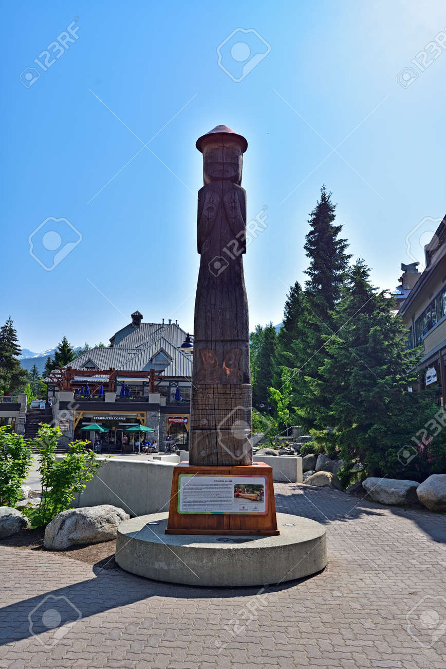 WHISTLER, BRITISH COLUMBIA, CANADA, MAY 30, 2019: Tourists and visitors at the Whistler - Canadian Ski Resort town approximately 125 kilometers north of Vancouver - 160784255