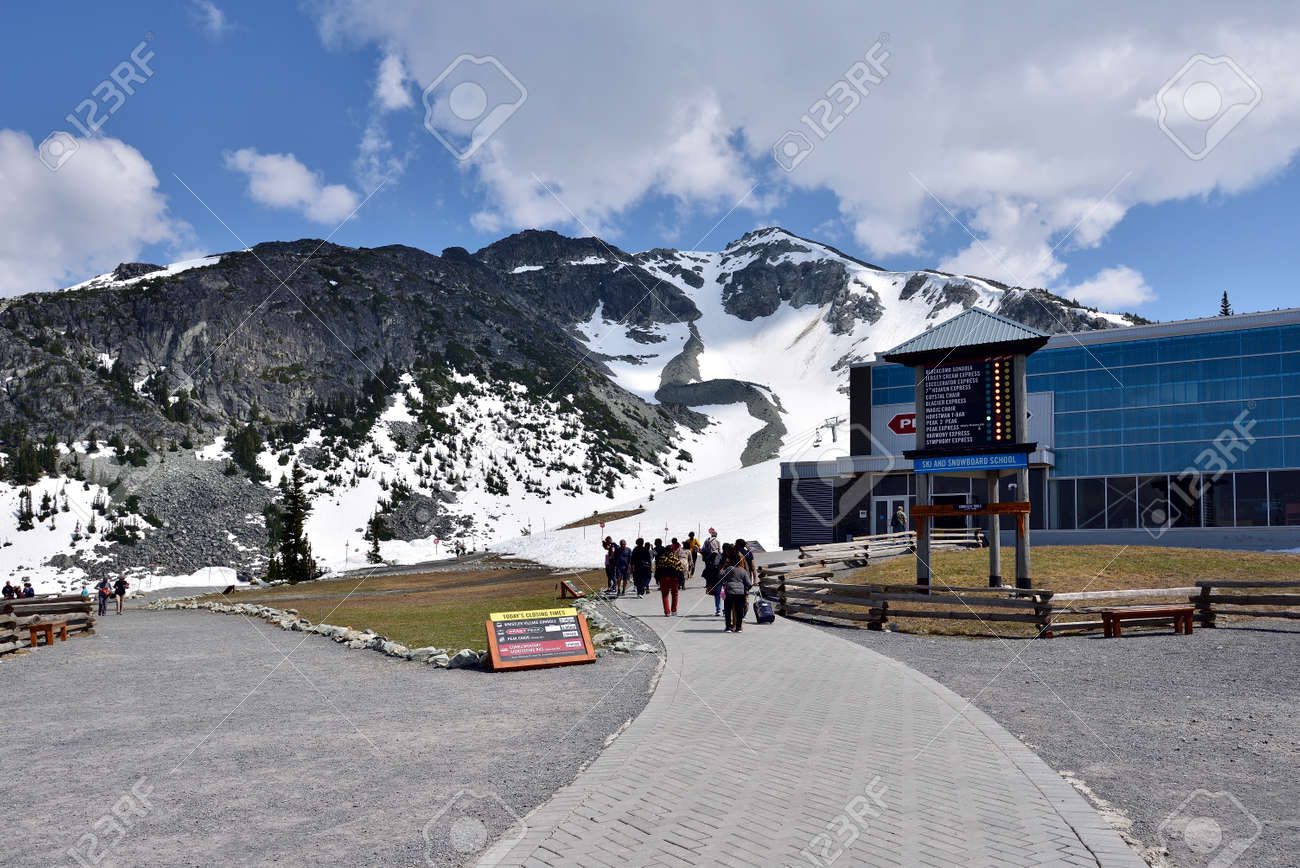 WHISTLER, BC, CANADA, MAY 30, 2019: Peak 2 Peak gondola building on top of Whistler Blackcomb Mountain. - 160784269