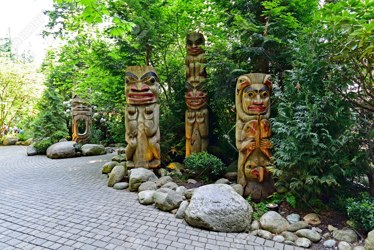 VANCOUVER, BRITISH COLUMBIA, CANADA, MAY 31, 2019: The Indian totem poles located in Capilano Park in Vancouver, Vancouver, BC. Canada - 160784265