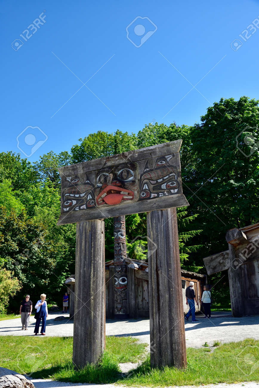 VANCOUVER, BC, CANADA, JUNE 03, 2019: First Nations totem poles and Haida houses in Museum of Anthropology at the University of British Columbia UBC campus in Vancouver - 161070543