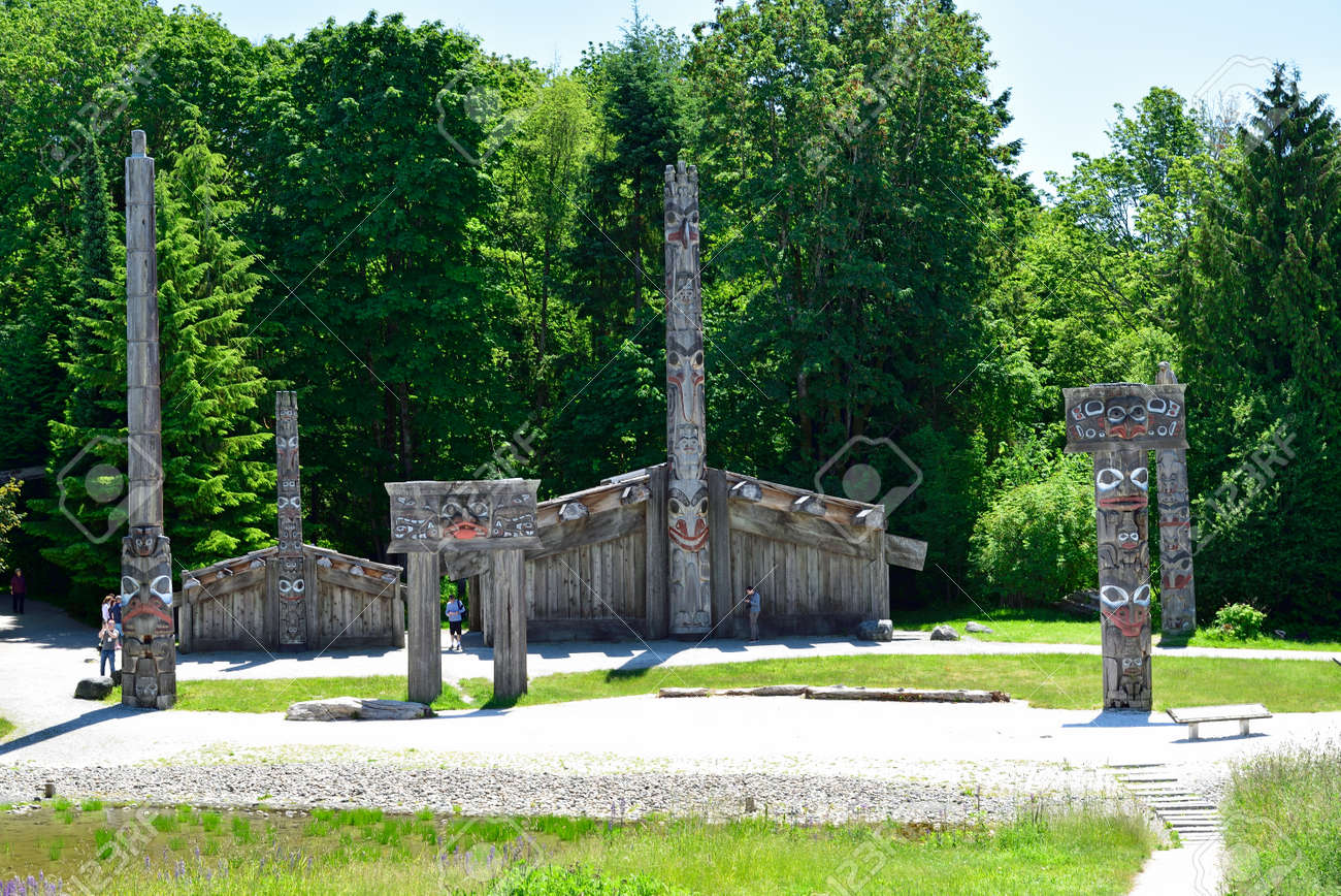 VANCOUVER, BC, CANADA, JUNE 03, 2019: First Nations totem poles and Haida houses in Museum of Anthropology at the University of British Columbia UBC campus in Vancouver - 161070547
